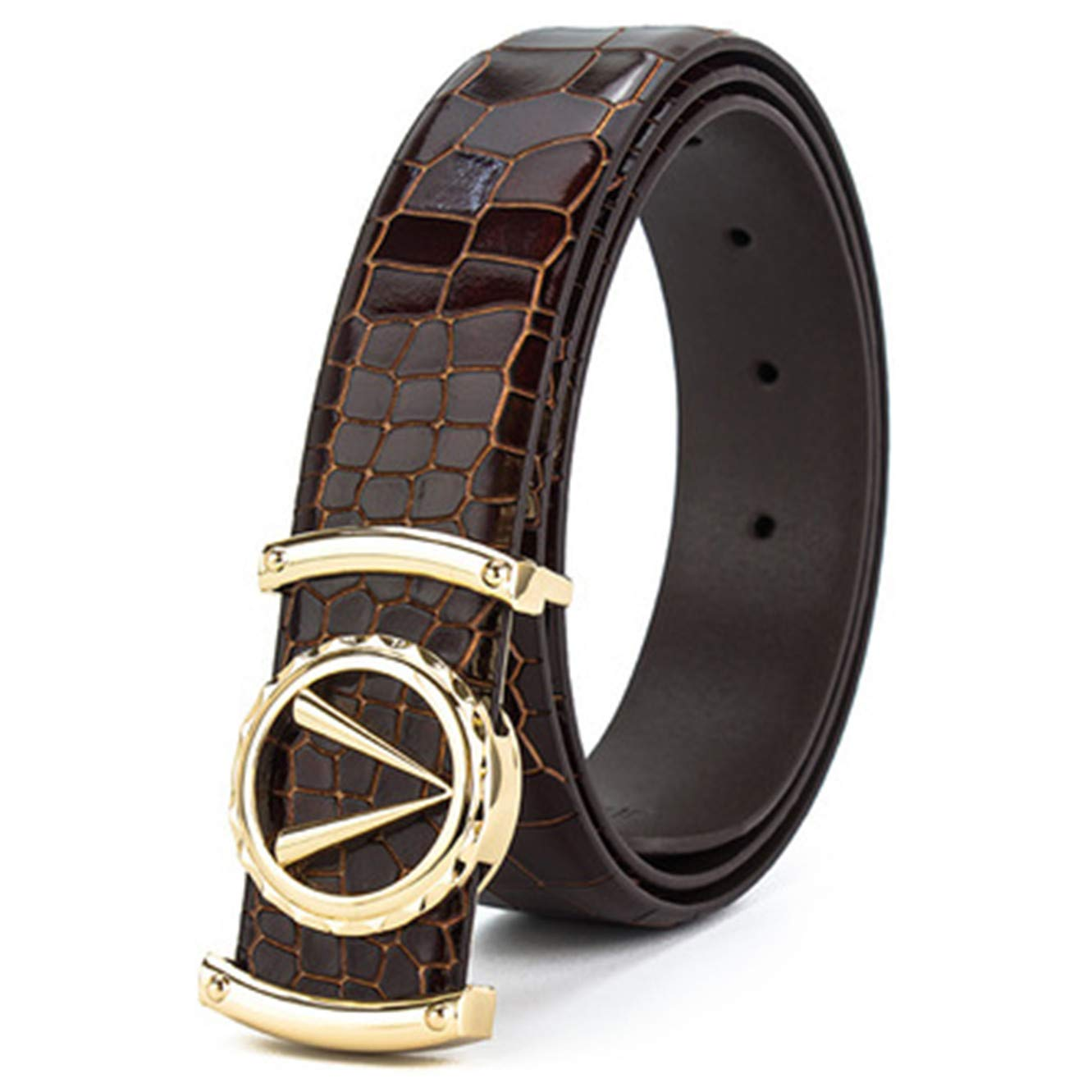 Mens crocodile pattern V-shaped leather business casual belt