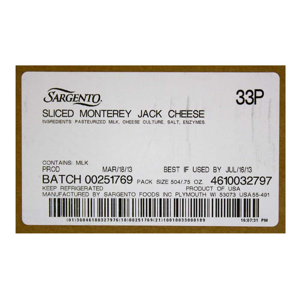 Sargento Monterey Jack Slice Cheese, 21 Ounce -- 18 per case.
