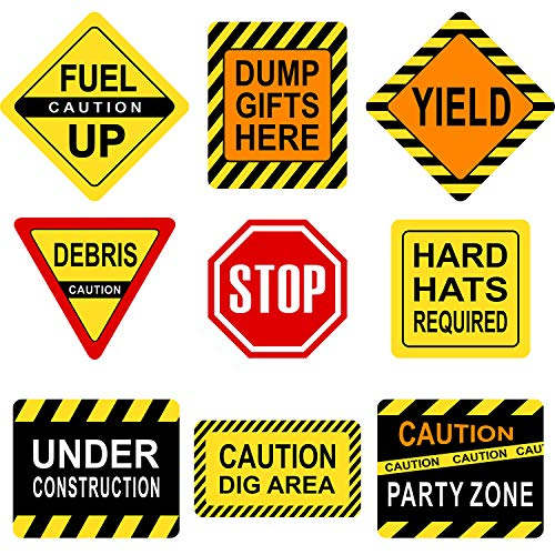 Blulu Construction Themed Party Decorations, 10-11.8 Inch Laminated Caution Traffic Signs, Construction Theme Party Signs, Paper Cutouts with 40 Glue Point Dots (9 Pieces Construction Signs) -
