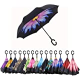 AWEOODS Inverted Umbrella Windproof Reverse Folding Double Layer Travel Umbrella with C Shape Handle, Coloured Glaze