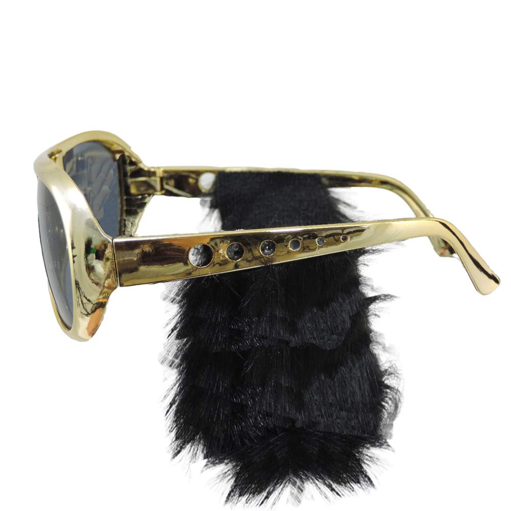 Jacobson Hat Company Gold Frame Classic Elvis Costume Sunglasses w// Sideburns,One Size