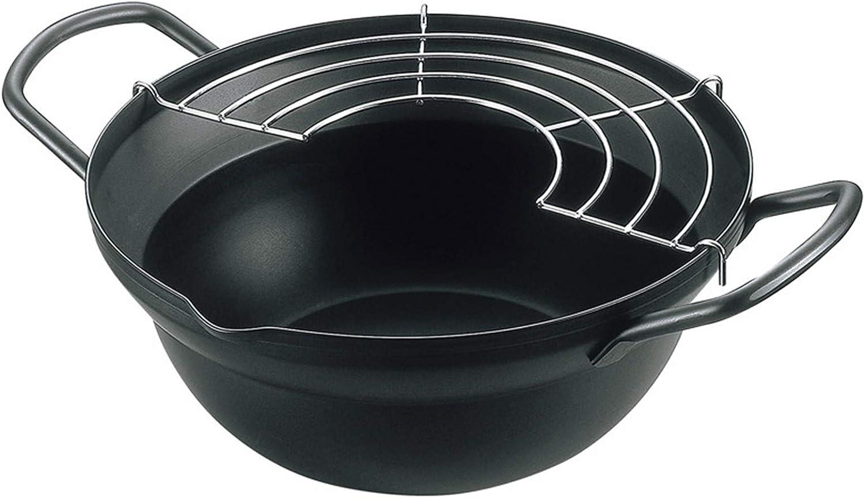 Mini Fryer Pan Nonstick Deep Fryers, 7.87 Inches (20cm), Tempura Frying Pot with Oil Drainer Rack Cooking Deep Fry Pan