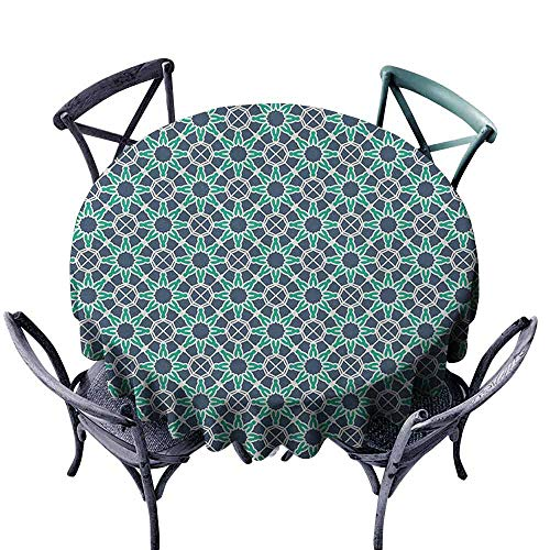 (Mannwarehouse Geometric Washable Table Cloth Star Shapes Arabic and Ottoman Ornamental Design Traditional Great for Buffet Table D47 Cadet Blue Sea Green White)