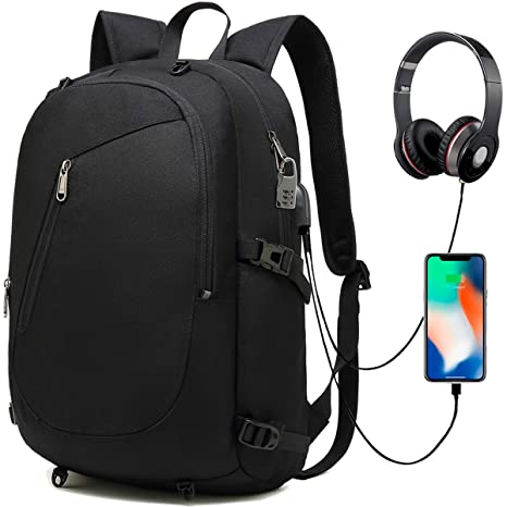 1413ff88f46b Backpack Laptop,Travel Computer Bag for Women & Men,Anti Theft Water  Resistant College School Bookbag,Slim Business Backpack with USB Charging  Port ...