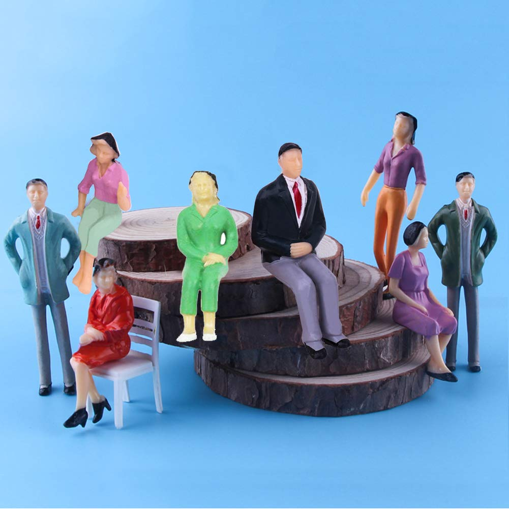 Gdaya 1:25 Scale Model Train People Hand Painted Model Trains Architectural G Scale Sitting and Standing Miniatures Figures for Miniature Scenes 20PCs Tiny People Figures
