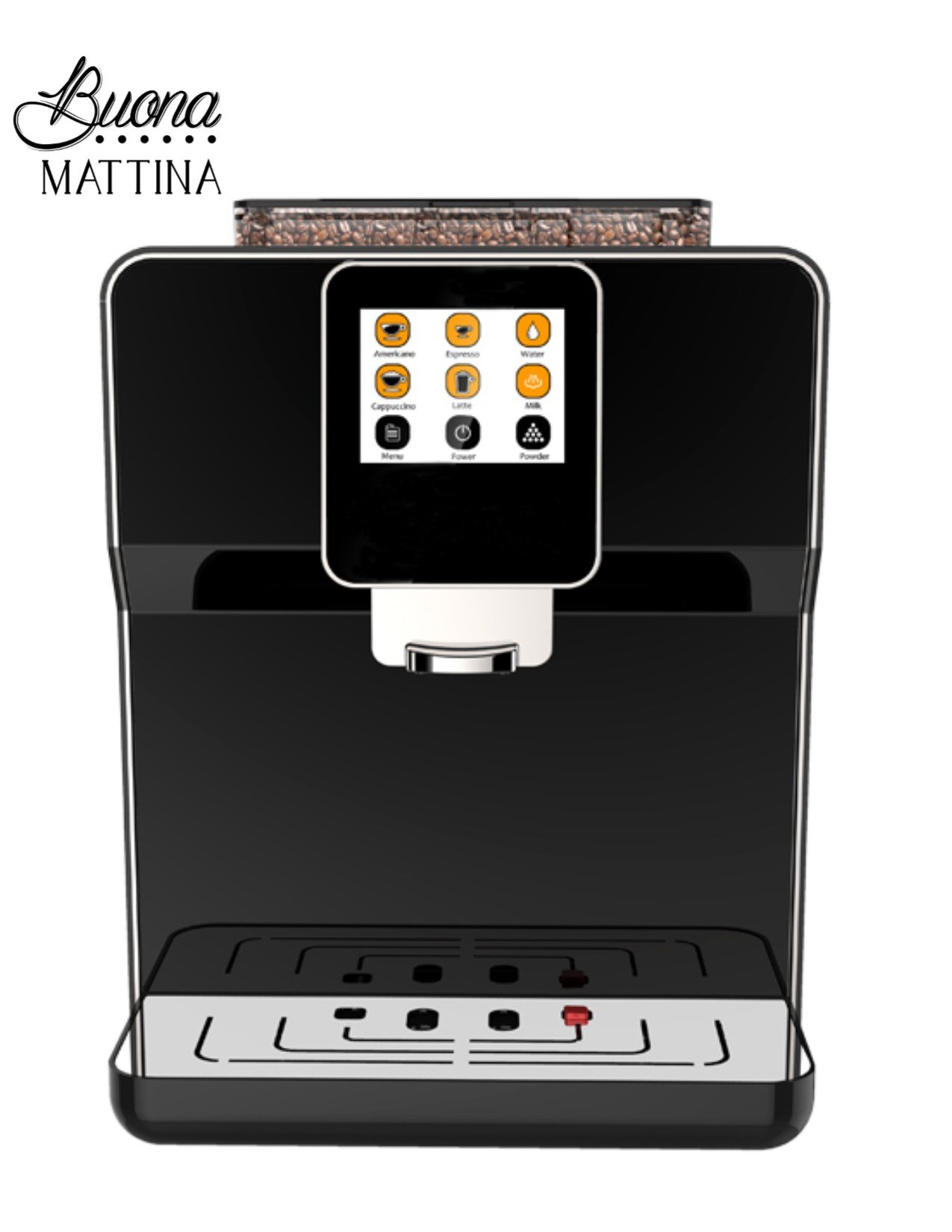 Buona Mattina Fully Automatic Espresso, Cappuccino and Latte Coffee Machine with Automatic bean Grinder and Milk Frother (Black)