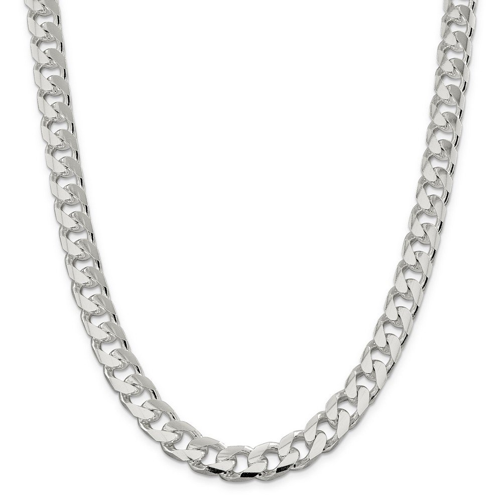 Sterling Silver 11.0mm Domed Curb Chain Bracelet - 9 Inch