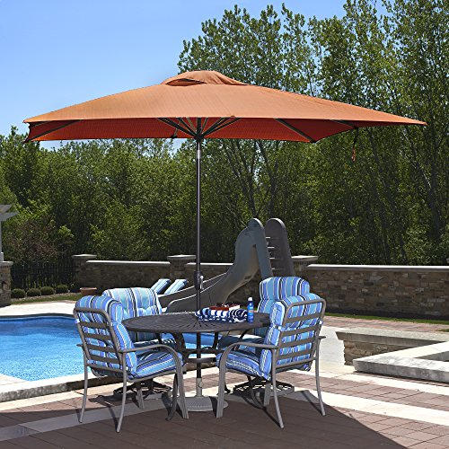 48TS Caspian Rectangular Market Umbrella, 8-ft x 10-ft, Terra Cotta Sunbrella ()