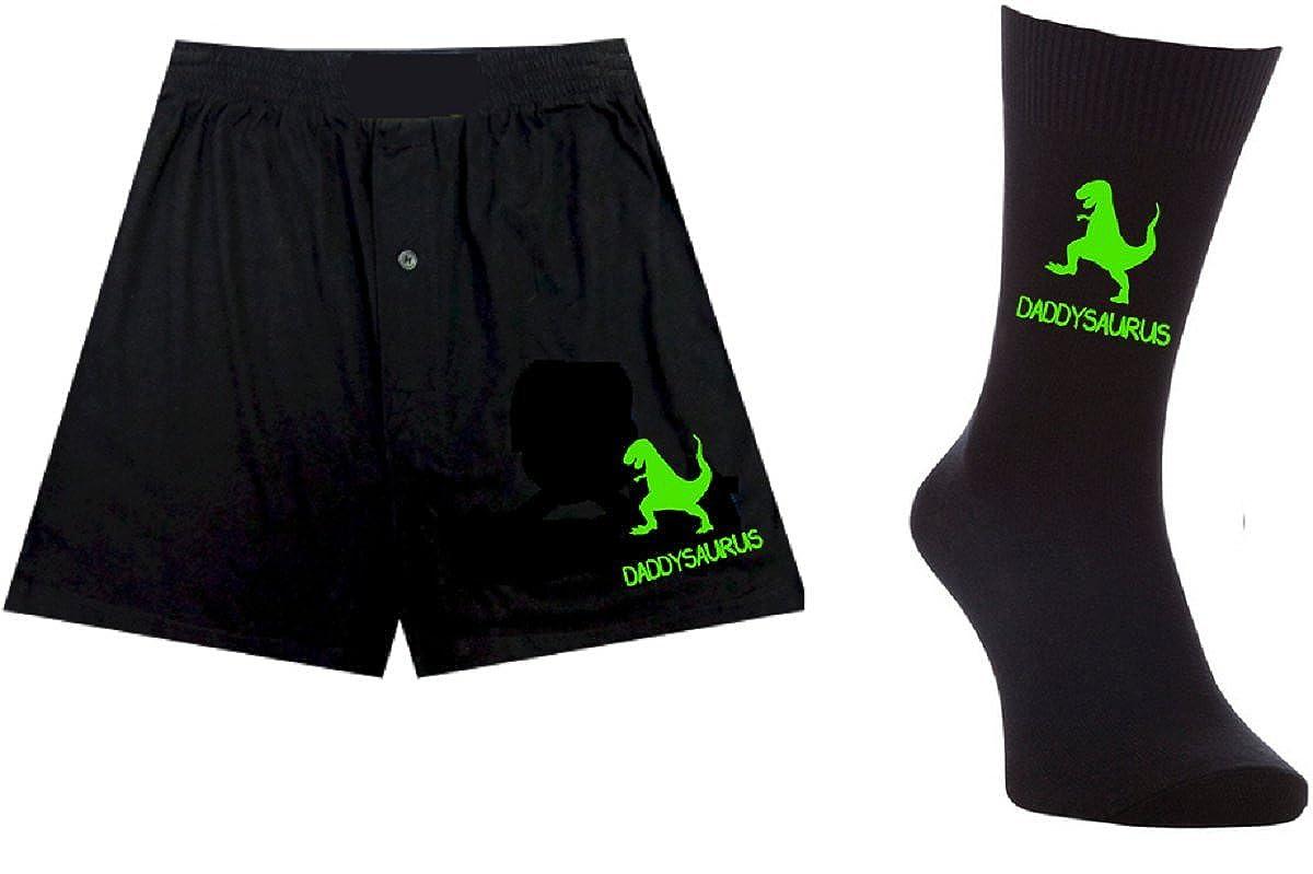 Printed Mens Boxers/Socks Set- Daddysaurus Dino Dinosaur - Father's Day