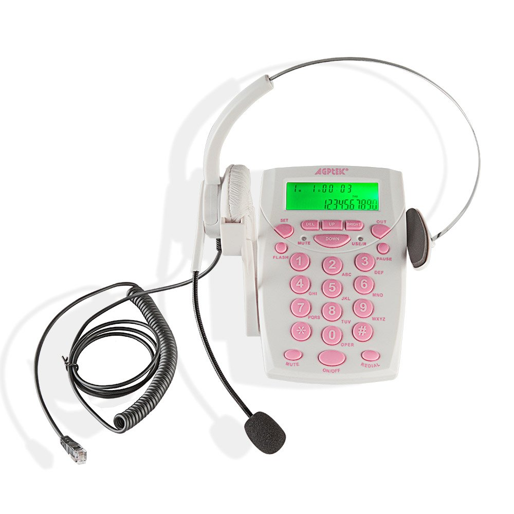 AGPtek Call Center Dialpad Headset White Telephone with Tone Dial Key Pad & REDIAL