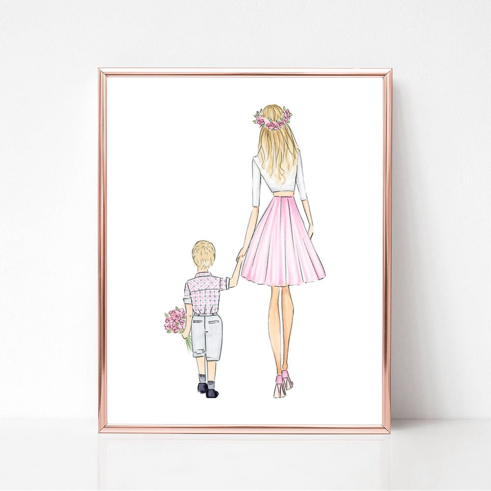 Unframed Customizable Mothers Day and Son Fashion Illustration Art Print