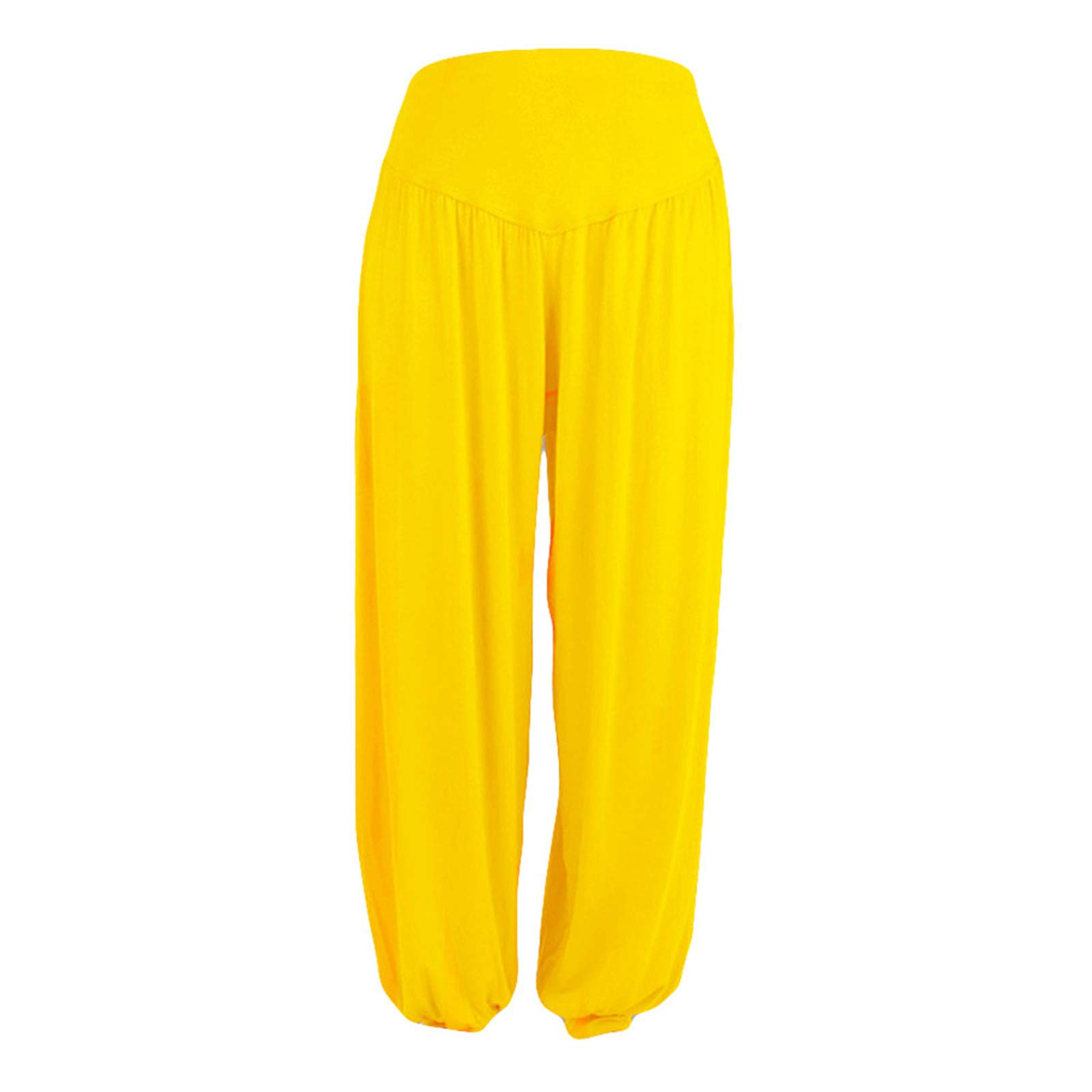 Thenxin Super Soft Cotton Harem Yoga Pilates Pants Elastic Waist Fitness Loose Fit Harem Trouser(Yellow,M)