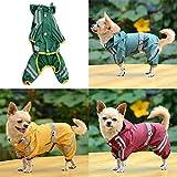 Dog Raincoat - Small Dog Raincoat - Puppy Pet Dog Cool Raincoat Glisten Bar Hoody Waterproof Rain Lovely Jackets Coat Apparel Clothes - Large Dog Raincoat (Yellow.M)