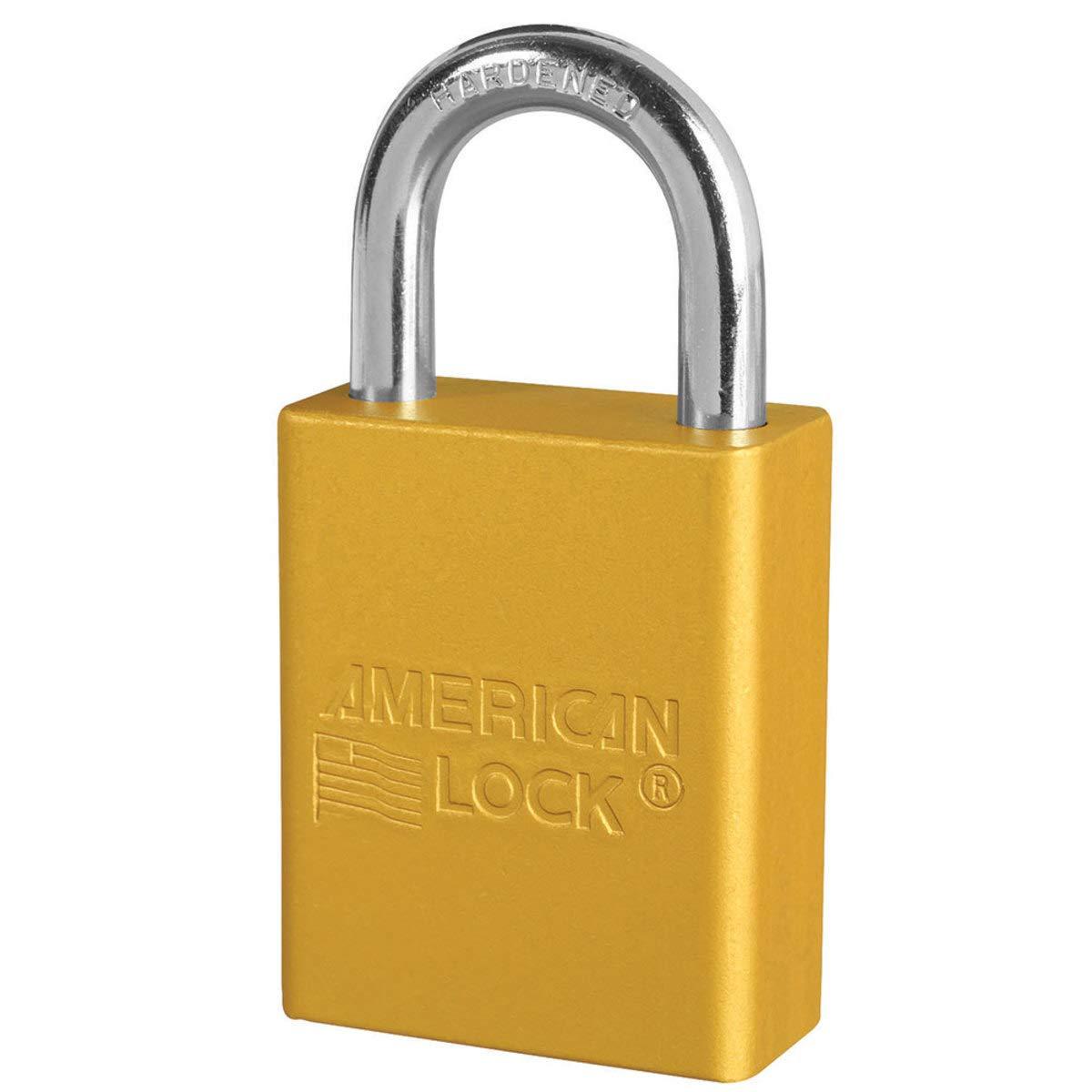 American Lock Yellow Anodized Aluminum Lifeguard 6 Pin Tumbler Padlock Boron Alloy Shackle