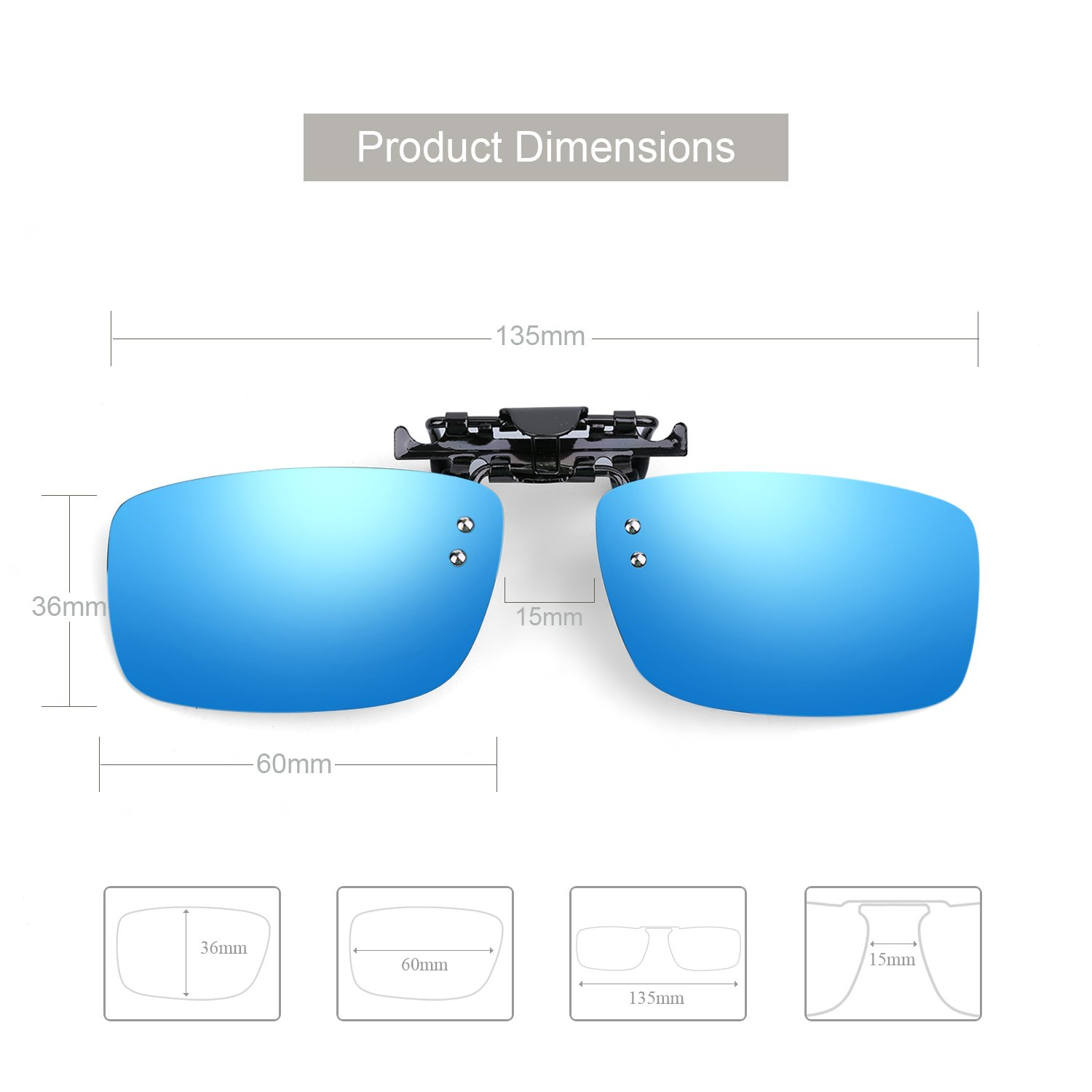 b513598114b Besgoods Polarized Clip-on Flip up Metal Clip Sunglasses Lenses Glasses  Unbreakable Driving Fishing Outdoor