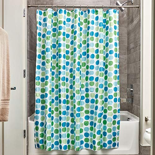 InterDesign Rialto Fabric Shower, Modern Mildew-Resistant Bath Curtain for Master, Kid's, Guest Bathroom, 72 x 72 Inches Blue and Green