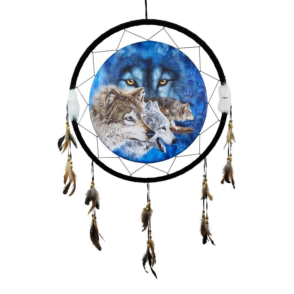Imprints Plus Wolves Eyes Medicine Shield Dream Catcher - 24'' x 42'' Natural Wall Hanging with Feathers and Beads Includes Instructional Card and Nail (KD CL 24149)