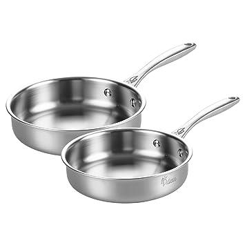 Tri-Ply - Juego de sartenes de acero inoxidable antiadherente para cocina, restaurante,