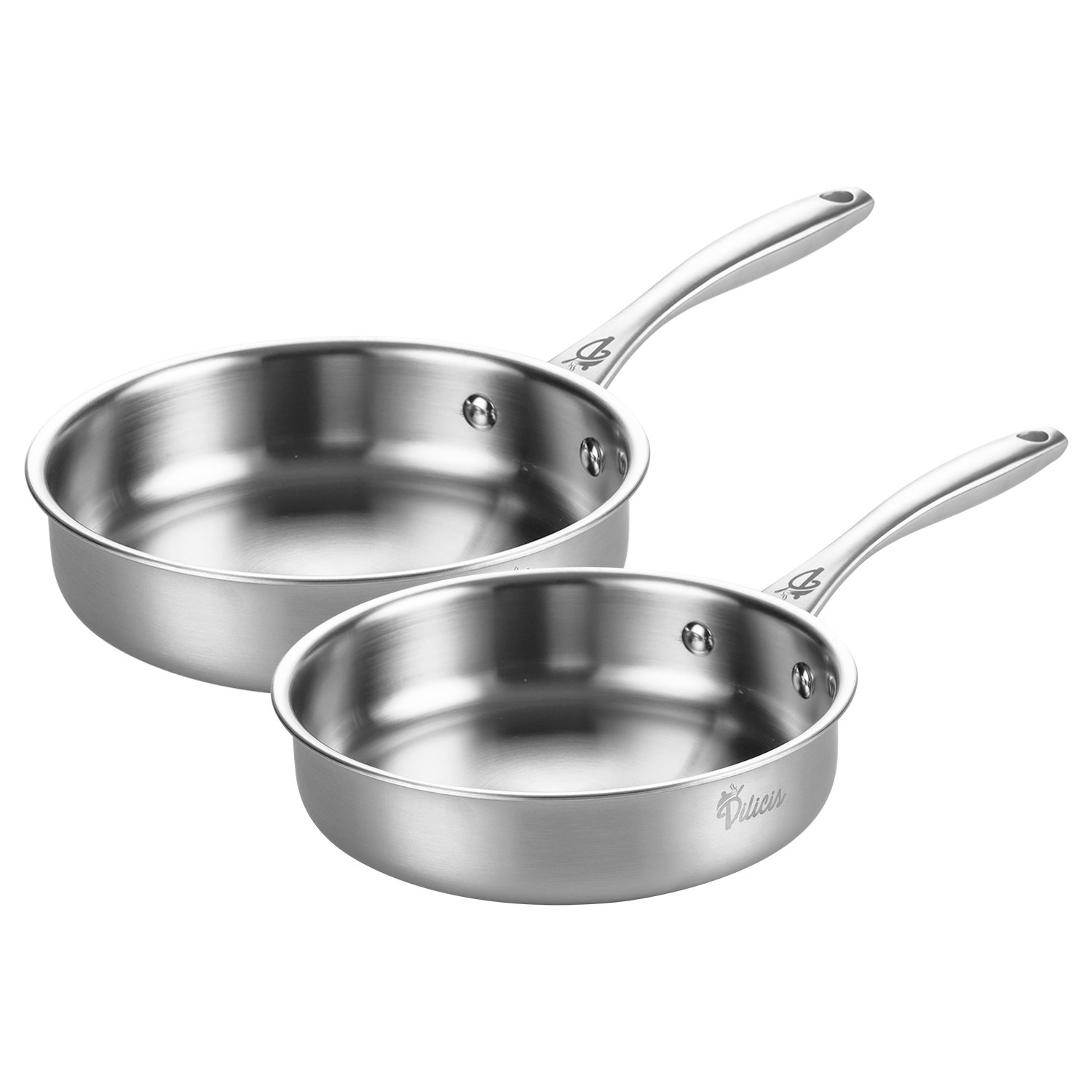 Tri-Ply Stainless Steel Frying Pan Cookware Set Physical Nonstick Fry Pan Professional Kitchen Restaurant French Skillet Omelette Dishwasher Safe, 8-Inch and 10-Inch, Silver [FDA Approved] Dilicis