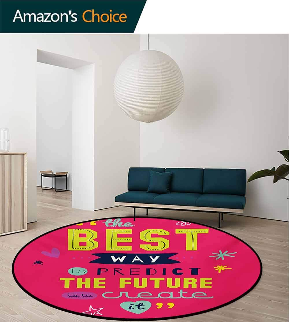 RUGSMAT Quotes Dining Room Home Bedroom Carpet Floor Mat,Motivational Typography The Best Way to Predict Future is to Create It Non Slip Rug,Diameter-47 Inch Dark Coral Multicolor