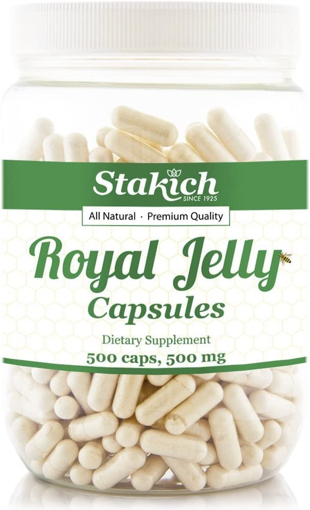 Stakich Gorgeous Royal Jelly Capsules 1 year warranty 500 Pure Count - Milligram