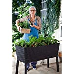 Keter Elevated Garden Bed 11 Dimensions: 44. 9 in. W x 19. 4 in. D x 29. 8 in. H Easy to read water gauge indicates when plants need additional moisture Drainage system that can be opened or closed for full control of watering