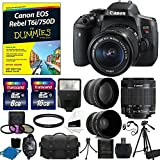 Canon EOS Rebel T6i DSLR CMOS Digital SLR Camera with EF-S 18-55mm f/3.5-5.6 IS STM Lens + 2x Professional Lens + HD Wide Angle Lens + T6i /750D For Dummies + With 24GB Kit Deluxe Accessory Bundle