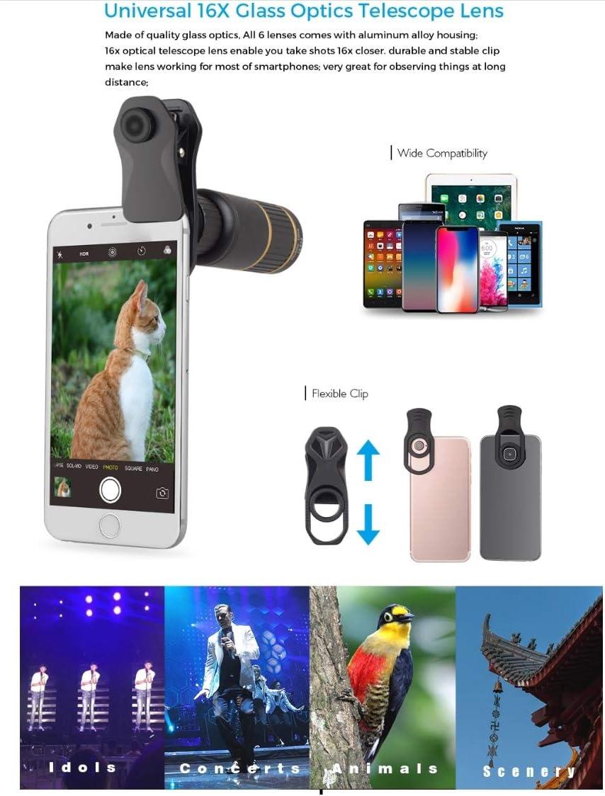 198/° Fisheye Lens Cpl Polarizing Lens 16x Telephoto Lens WSJ 6-in-1 Clip Phone Lens 15x Macro Lens Star Filter Lens 0.63x Wide-Angle Lens