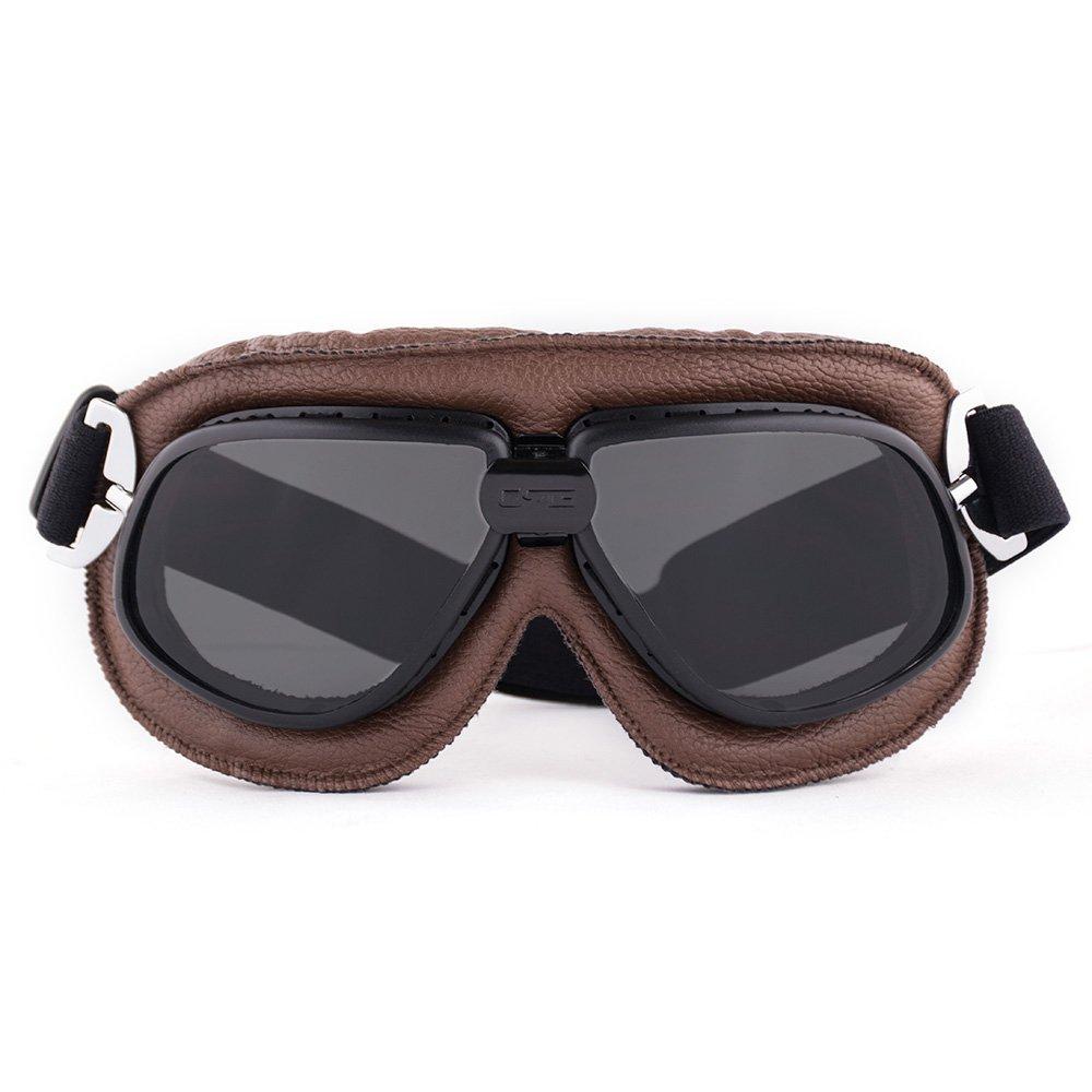 Occhiali motocross Racing off Road Aviator occhiali da pilota casco marrone in pelle morbida imbottita vintage Aviator Pilot Cruiser Steampunk goggles