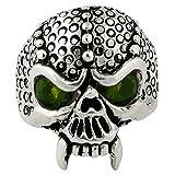 Serpentine Demon Skull Sterling Silver Olive Green Cubic Zirconia Eyes