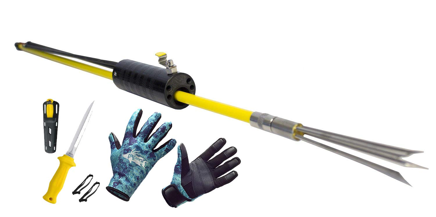 DXDiver Automatic Pole Spear, Camo Amara 2mm Neoprene Gloves & Sopras Sub Knife Scuba Diving Freediving Spearfishing (Yellow Handle Stainless Steel Blade, Small Gloves)