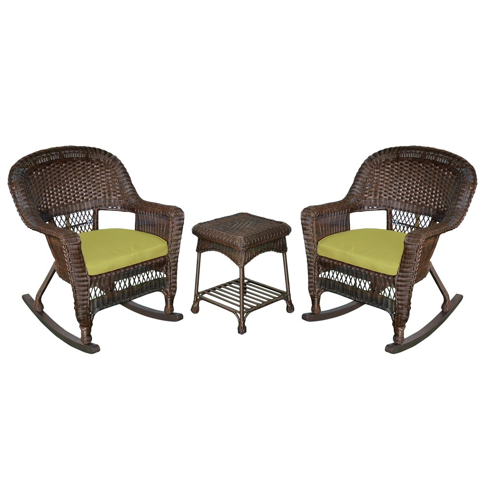 Jeco W00201R-A_2-RCES029 3 Piece Rocker Wicker Chair Set with with Green Cushion, Espresso