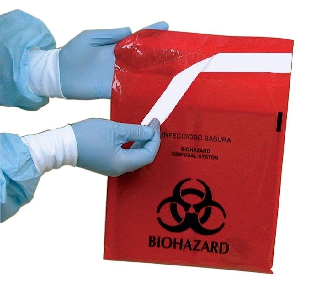 Stick-on Biohazard Bags, 12x14 inch, 2-3/5 quart, 100 per box