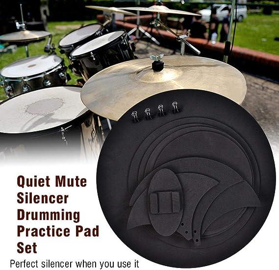 10 unidades de silenciador de batería Pad silenciador de silencio práctico Pad Bass Drums Sound Off/Quiet Tambor para entrenamiento negro: Amazon.es: Instrumentos musicales