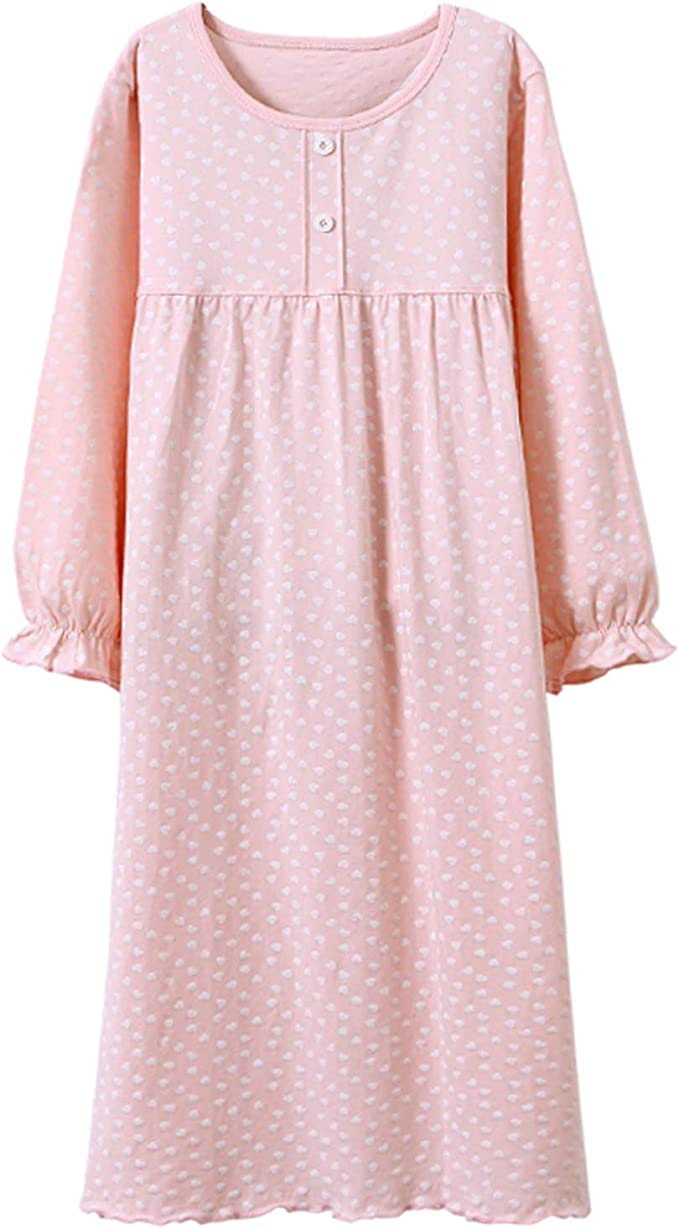 Victorian Kids Costumes & Shoes- Girls, Boys, Baby, Toddler Allmeingeld Girls Princess Nightgowns Heart Print Sleep Shirts Cotton Sleepwear for 3-12 Years  AT vintagedancer.com
