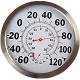 Penseetek Classic 12 Inch Indoor Outdoor Thermometer Hydrometer/Steel Cover Temperature Humidity Gauge-Round