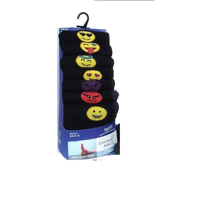 7 pares de calcetines de los días de la semana, estado de ánimo, negros, de algodón, calcetines de diario, tallas 40-45 Negro 7 PAIR PACK EMOTION [WH1253] ...