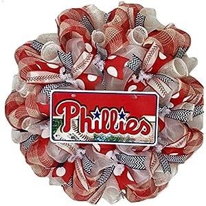 Philadelphia Phillies Baseball Wreath Handmade Deco Mesh 14