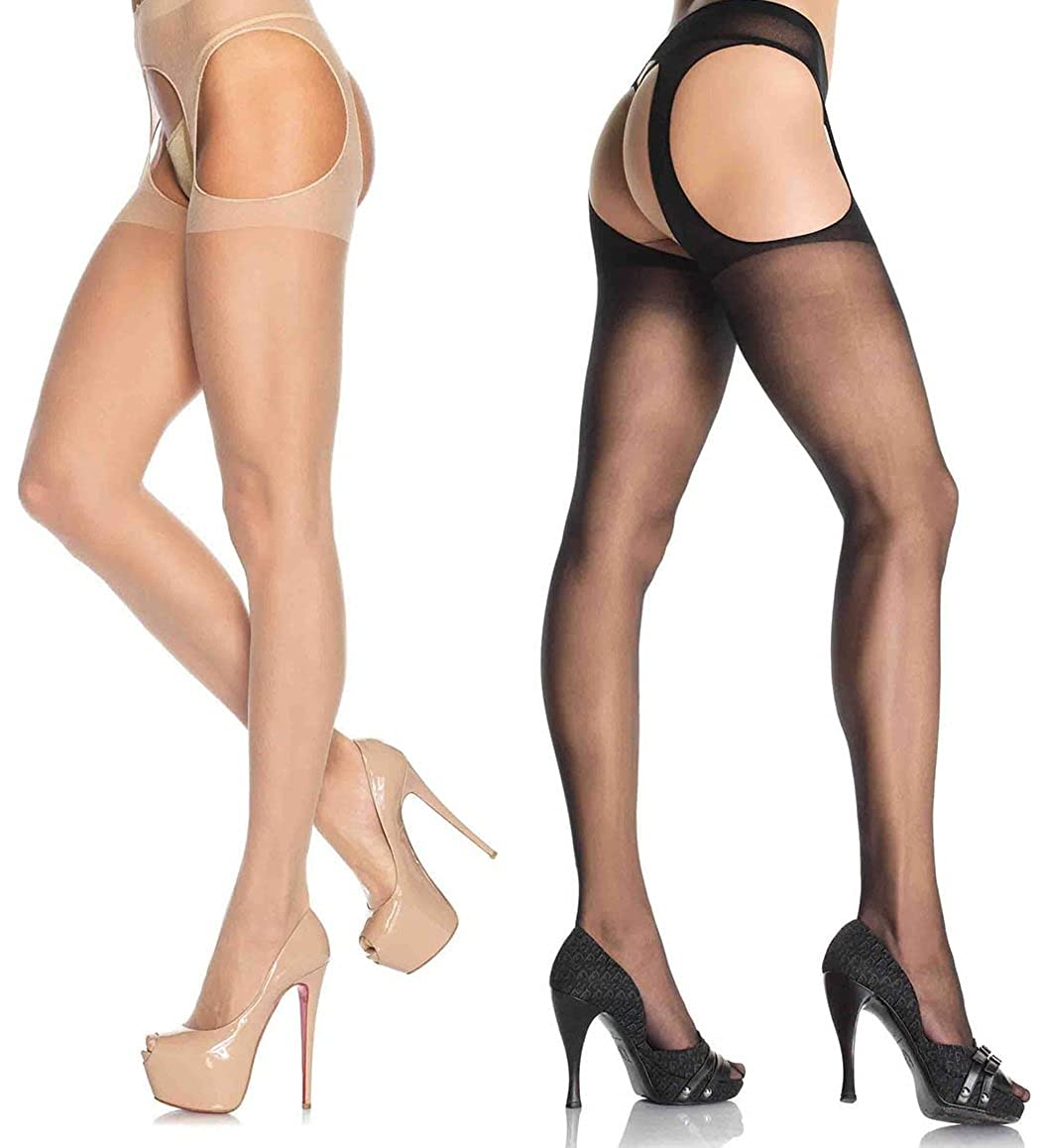 Leg Avenue Women's Sheer Garter Belt Pantyhose LA-1901Q