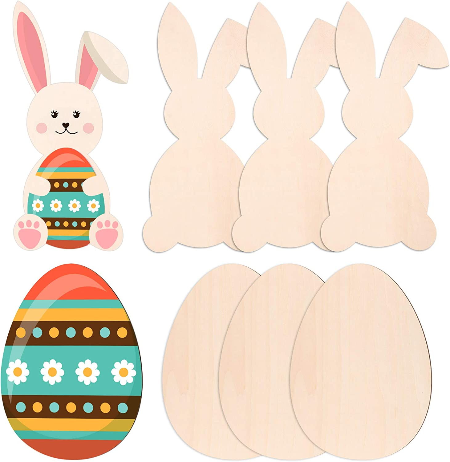 6 Pieces Easter Wooden Bunny Cutouts 11 x 6 Inch and Unfinished Wood Egg Cutouts 9.8 x 7.1 Inch Wooden Rabbit Egg Shape Tags Easter Wood Slice Ornaments for Easter Day Spring Home Party Decors Crafts