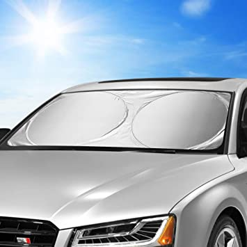 Silver Blocks UV Rays Car SUV Off-Road Sun Visor Foldable Car Windshield Sun Shade Cover Multiple Insulate Heat Windshield Sunshade Front Cover