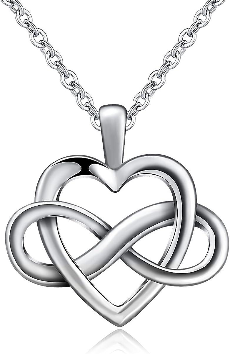 CELESTIA Argent Sterling 925 Symbole de linfini C/œur Amour /Éternel Collier Pendentif 46CM Cha/îne le Meilleur Cadeau pour Petite Amie /épouse et M/ère