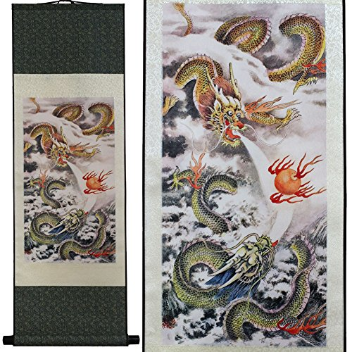 (SweetHome Asian Silk Scroll & Picture Scroll & Wall Scroll Calligraphy Hanging Artwork (Two Dragons Play)
