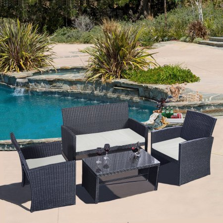 4piece Outdoor Conversation Set Furniture Rattan Wicker for Outdoor Garden Beach Patio And Poolside. 1 Rectangle Tempered Glass Top Coffee Table + 1 Double Sofa + 2 Single Sofas, All With Cushions! (Tropitone Glass Table)