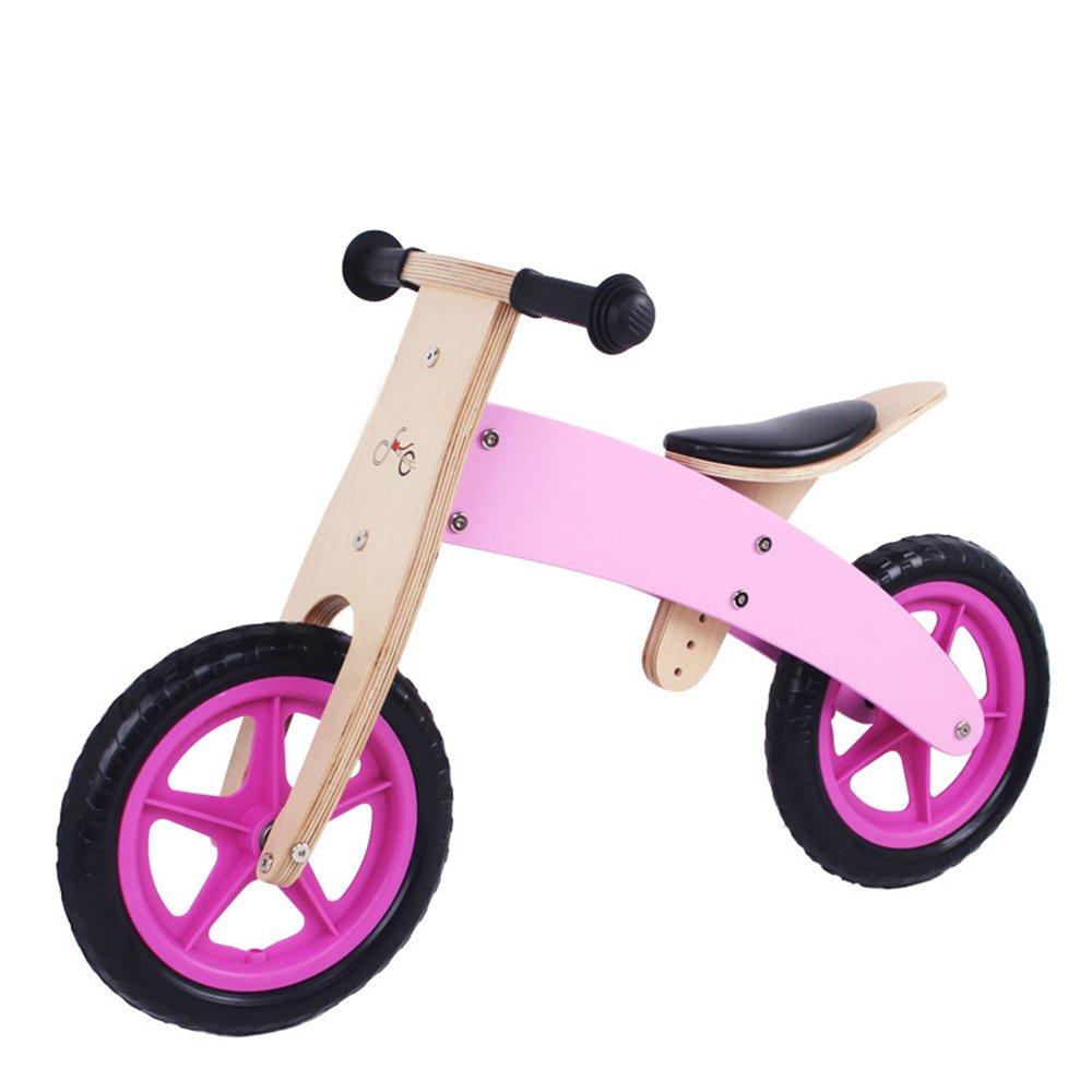 YANGFEI 子ども用自転車 木製幼児バランシングカー、ベビーウォーキングスクーター、木製スライド、子供用自転車 212歳 B07DWVBZCG ピンク ぴんく ピンク ぴんく
