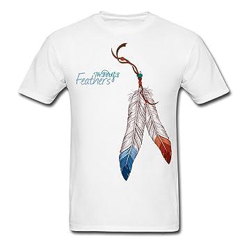 Asoarts Hombres de alas de plumas Tee, Camiseta Con diseño de plumas de Native American