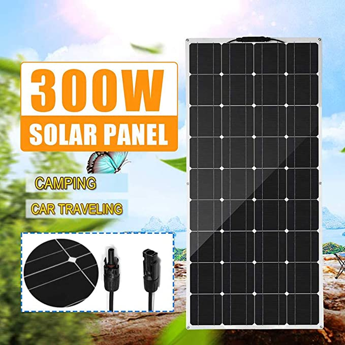 Amazon.com: HUAJIN 300W Flexible Solar Panel 18V Solar Cell Module Cable  Car 18V Monocrystalline Solar Charger for RV Boat Home Roof Camping SUV:  Sports & Outdoors