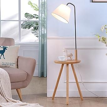 Lvhayon lámparas de pie Habitación de madera sólida Lámpara de estar lámpara de cabecera creativo nórdica Lámpara de pie de luz vertical Europea, estantes lámpara de mesa lámpara de pie: Amazon.es: Iluminación