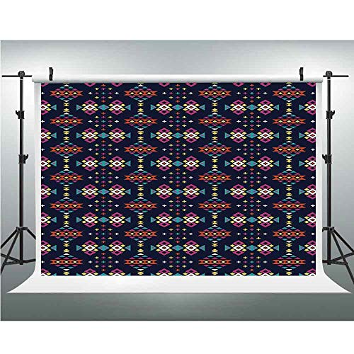 (Backdrop,Geometric,Photography Garden Backdrop for Picture Photography Props,3.28x5ft,Dark Toned Squares Triangles Oriental African Motifs Tribal Culture Inspirations Decorative)