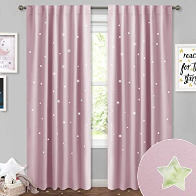 NICETOWN Kids Curtains with Hollow Stars - Room Darkening Romantic Starry Sky Star Cut Out Curtains Panels Window Treatment Draperies for Bedroom/Living Room, 52W x 84L inches, Lavender Pink, 2 PCs: Home & Kitchen [5Bkhe0303751]